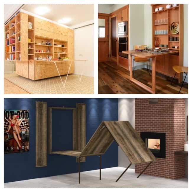 Mesa dobrável de madeira