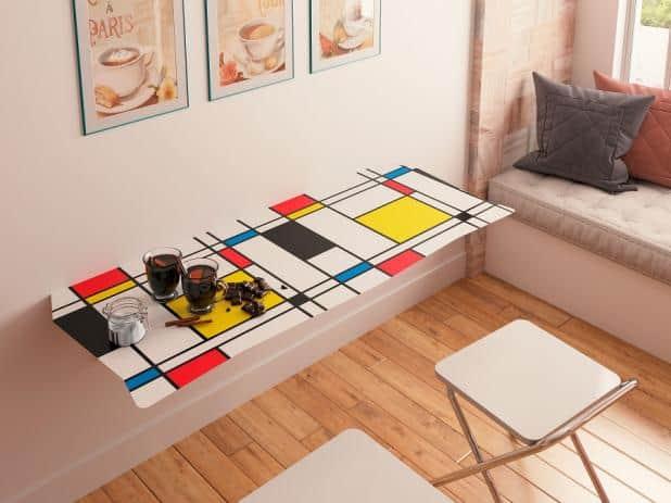 Mesa dobrável de parede com banquetas modernas
