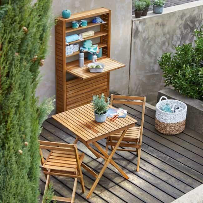 Mesa dobrável de parede de madeira compacta