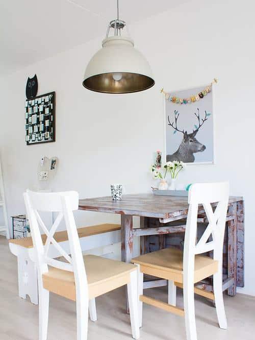 Mesa dobrável de parede de madeira rústica