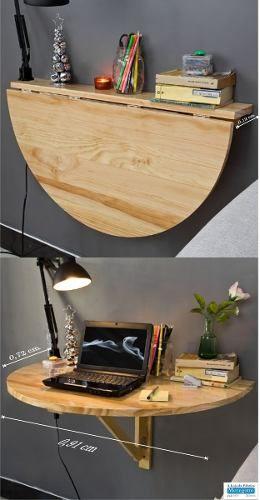 Mesa dobrável de parede de madeira redonda