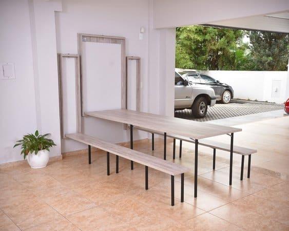 Mesa dobrável de parede para churrasco grande
