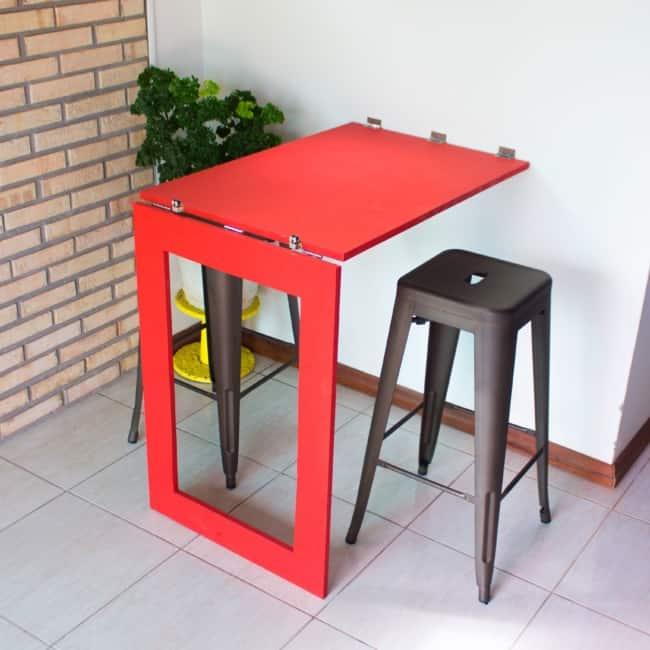Mesa dobrável de parede para churrasco vermelha