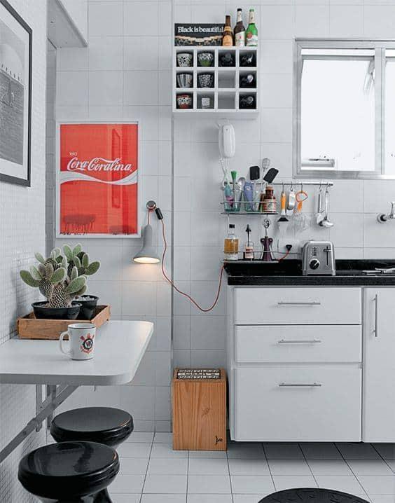Mesa dobrável de parede para cozinha branca