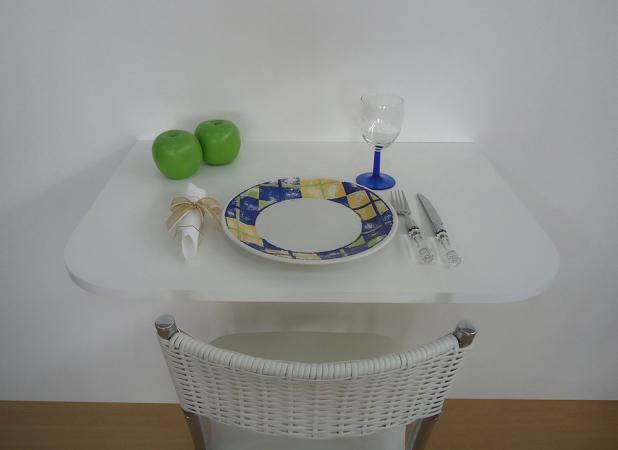 Mesa dobrável de parede para cozinha com cadeira