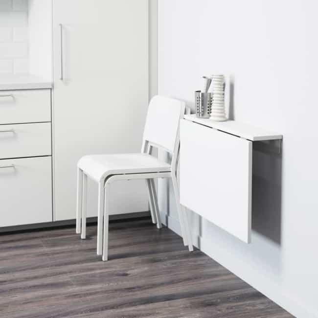 Mesa dobrável de parede para cozinha compacta
