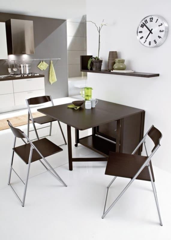 Mesa dobrável de parede para cozinha preta