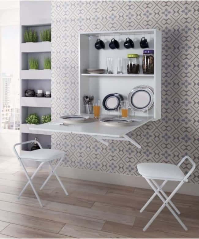 Mesa dobrável de parede para cozinha