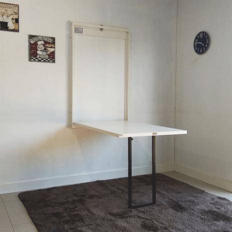 Mesa dobrável de parede para quarto branca simples