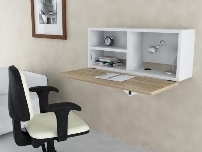 Mesa dobrável de parede para quarto com madeira