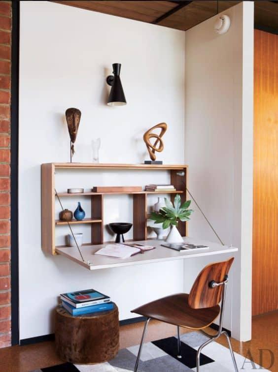 Mesa dobrável de parede para quarto e escritorio