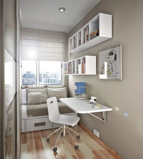 Mesa dobrável de parede para quarto pequeno
