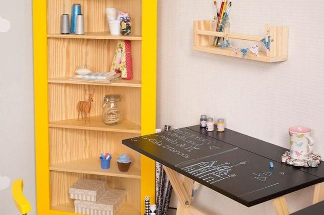Mesa dobrável de parede para quarto preta ideias