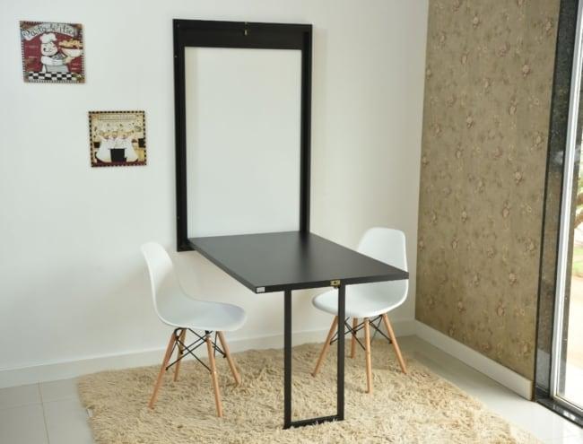 Mesa dobrável de parede para quarto preta