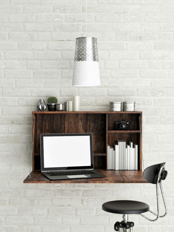 Mesa dobrável de parede para quarto rustica