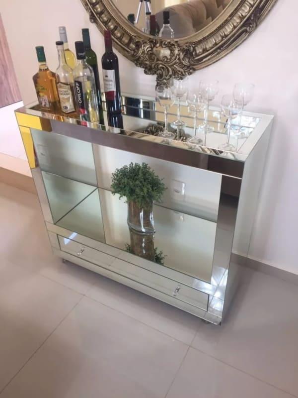Modelos de aparador bar espelho lapidado com gavetas espelhado