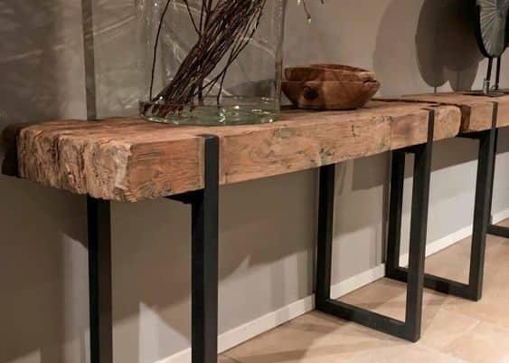 Modelos de aparador de ferro com madeira rústica