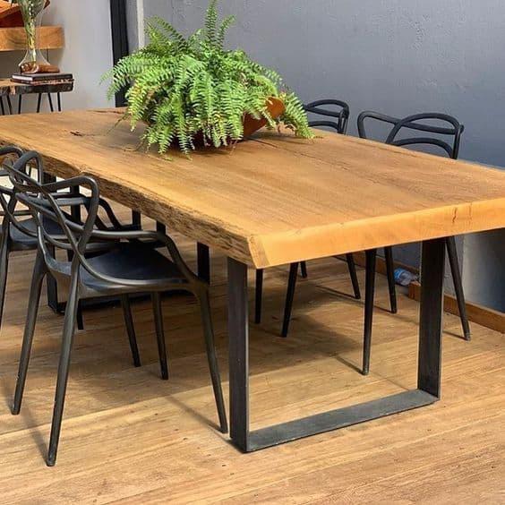 Modelos de mesa de jantar de madeira com base de ferro