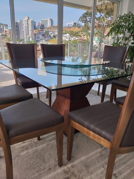 Modelos de mesa de jantar de vidro com centro giratório