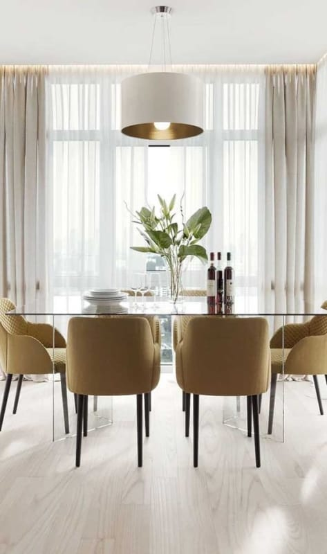 Modelos de mesa de jantar de vidro de 6 lugares