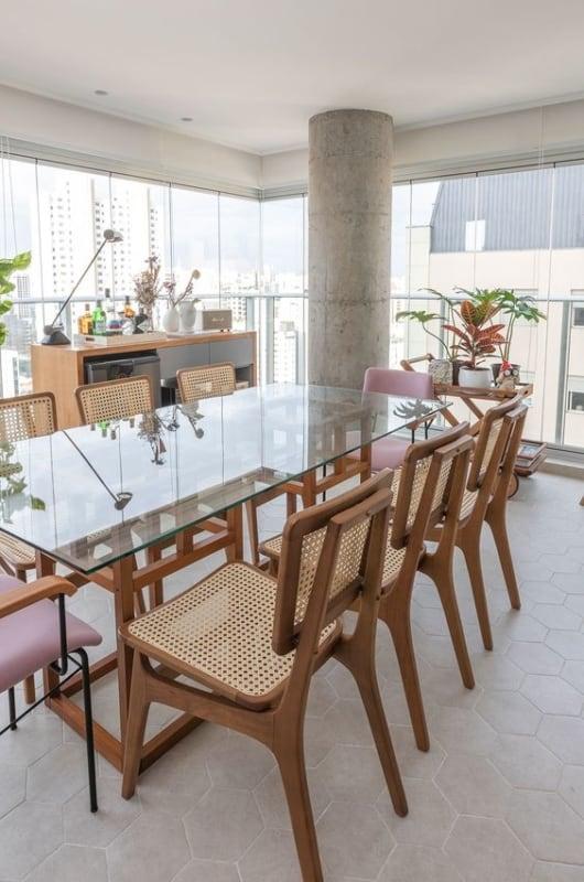 Modelos de mesa de jantar de vidro em formato retangular
