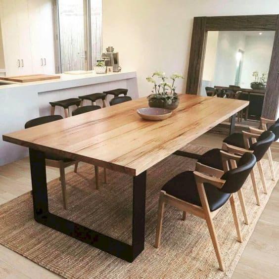 Modelos de mesa de jantar industrial de 6 ou 8 lugares