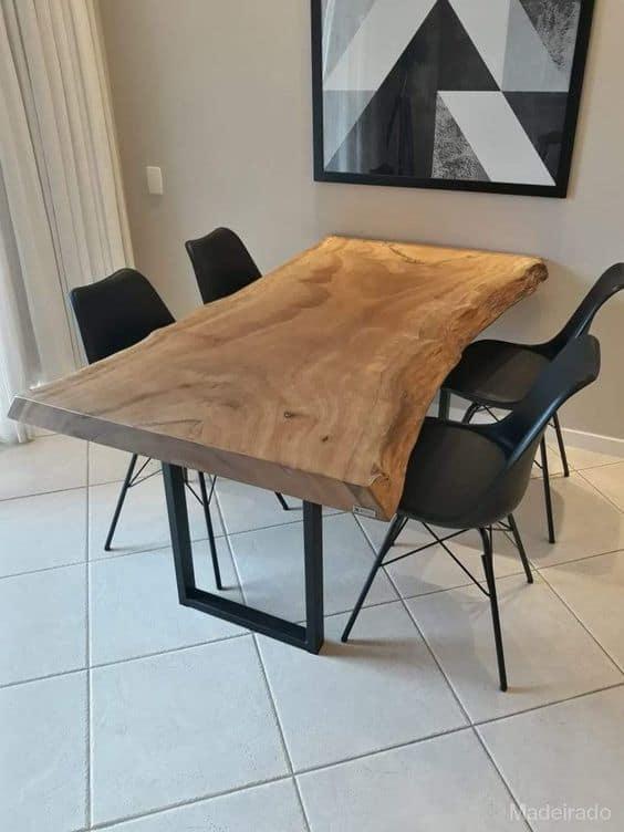 Modelos de mesa de jantar industrial de madeira rústica