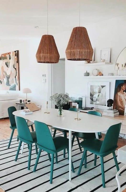 Modelos de mesa de jantar moderna branca com 6 cadeiras