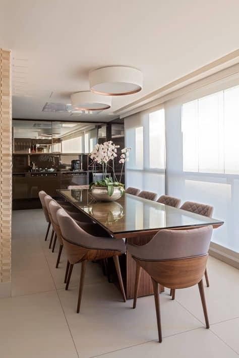 Modelos de mesa de jantar moderna de madeira com vidro por cima