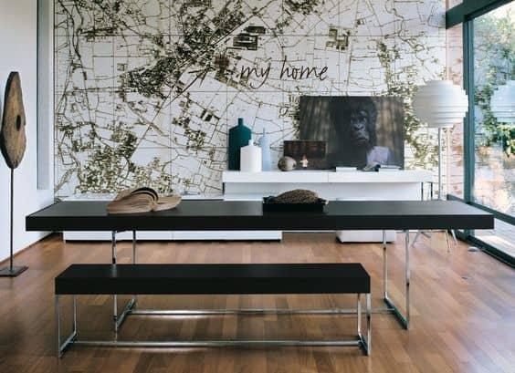 Modelos de mesa de jantar moderna estilo industrial preta