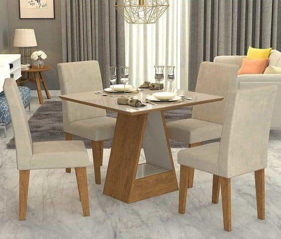 Modelos de mesa de jantar pequena de formato quadrado