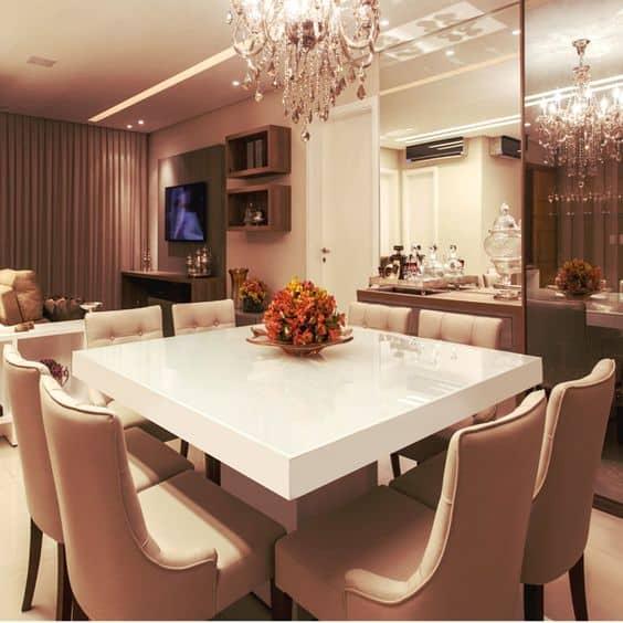 Modelos de mesa de jantar quadrada branca