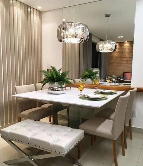 Modelos de mesa de jantar quadrada de vidro branco