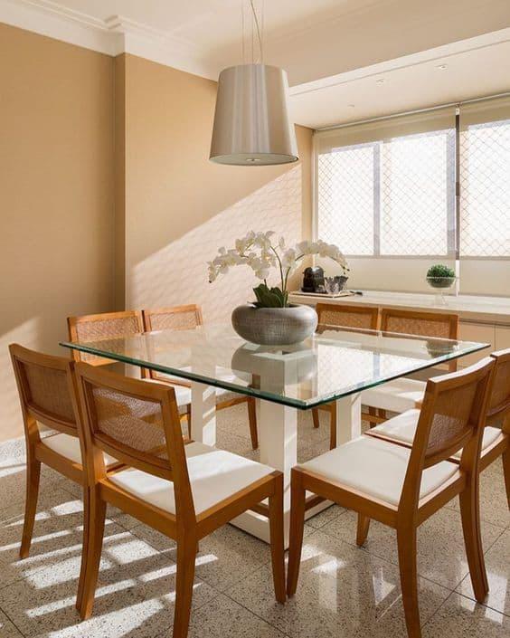 Modelos de mesa de jantar quadrada de vidro com 8 lugares