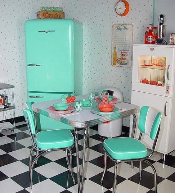Modelos de mesa de jantar quadrada retrô vintage