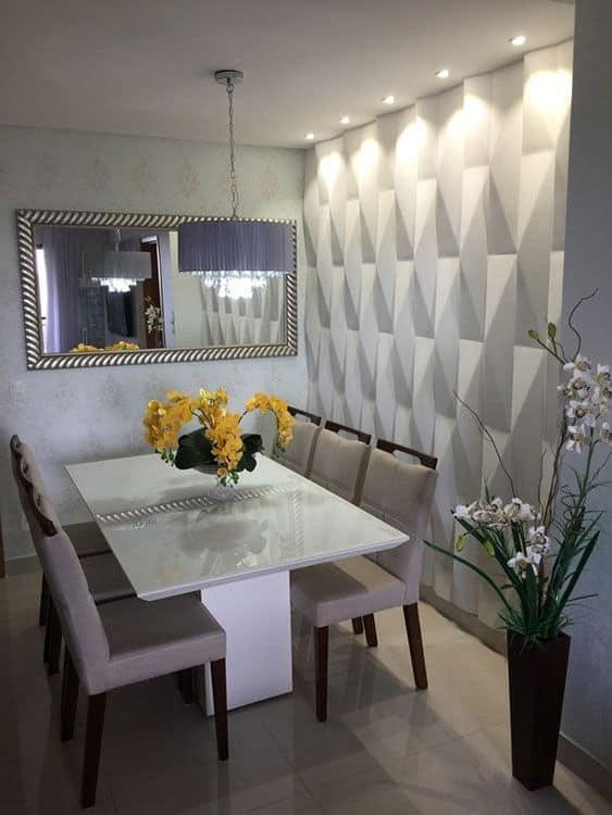 Modelos de mesa de jantar retangular de vidro branco