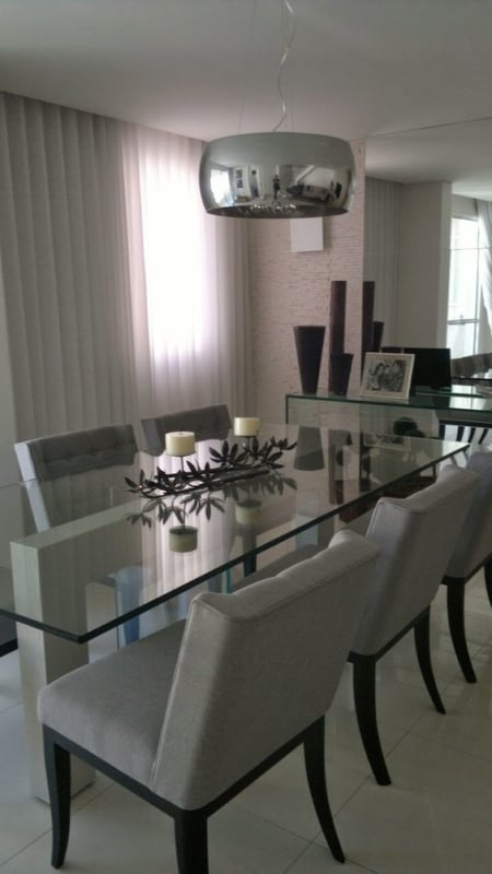 Modelos de mesa de jantar retangular de vidro