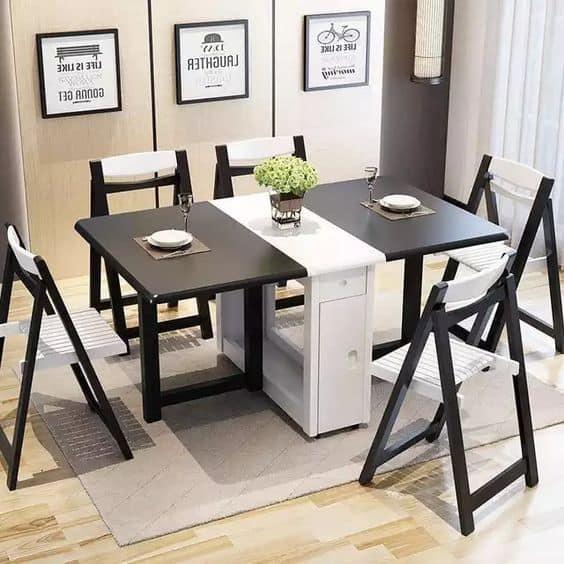 Modelos de mesa de jantar retrô preta e branca