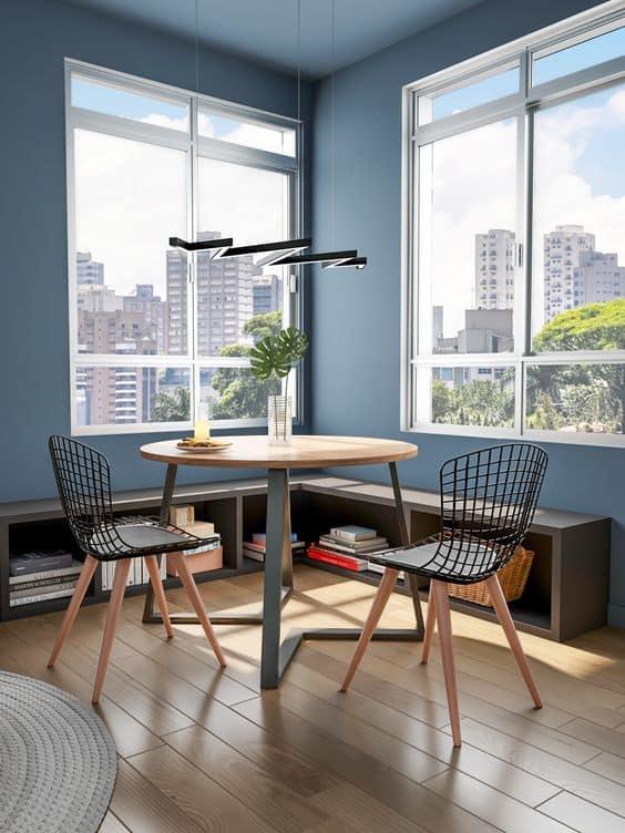 Outro dos modelos de mesa de jantar industrial redonda