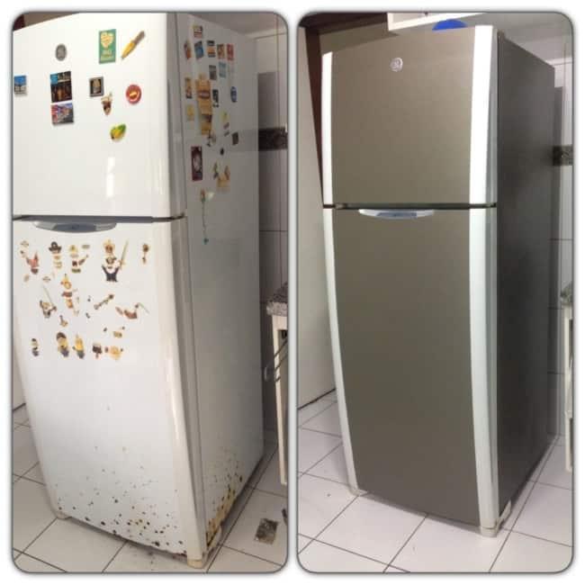 Papel contact antes e depois aplicado na geladeira