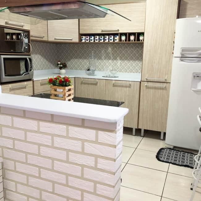 Papel contact de tijolinho para cozinha