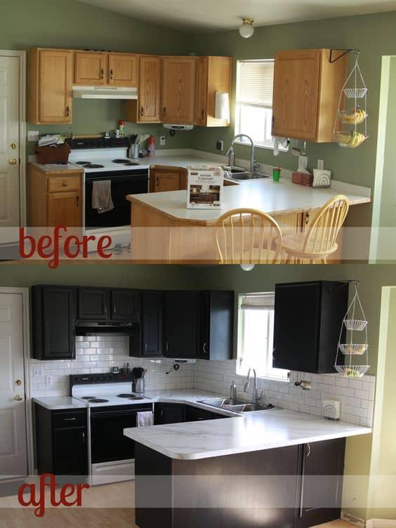 Papel contact para cozinha antes e depois madeira para preto
