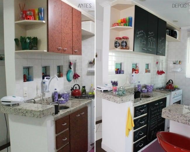 Papel contact para cozinha antes e depois