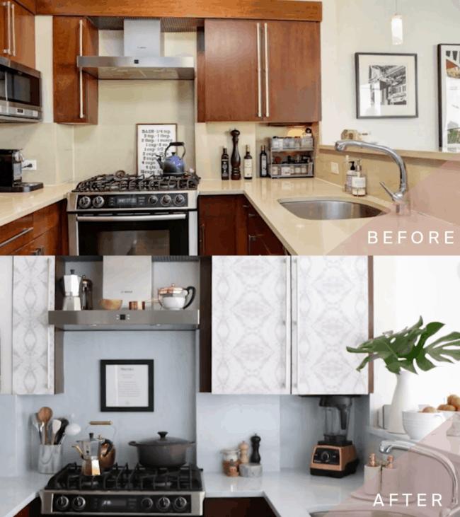 Papel contact para cozinha armario antes e depois