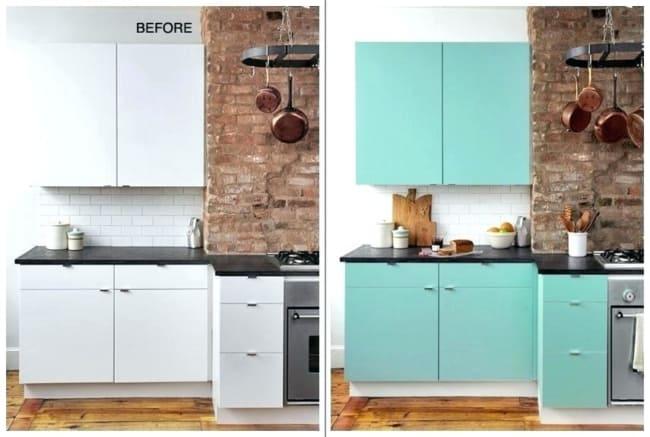 Papel contact para cozinha armario de branco para verde
