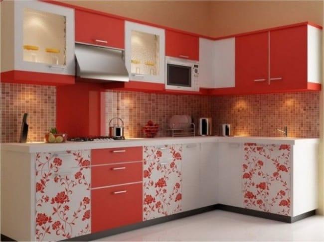 Papel contact para cozinha armario vermelho e branco