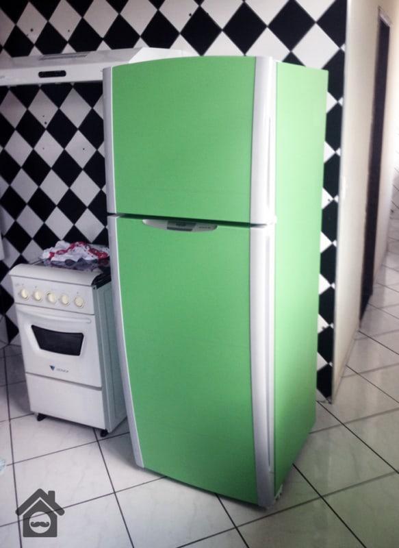 Papel contact para cozinha geladeira verde