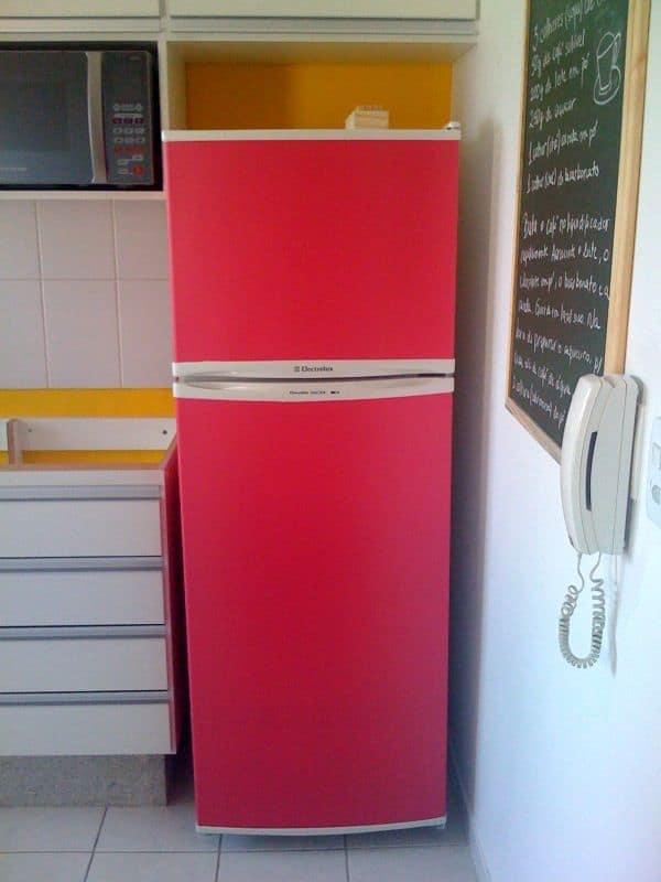 Papel contact para cozinha geladeira vermelha