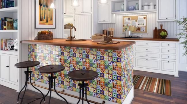 Papel contact para cozinha painel colorido