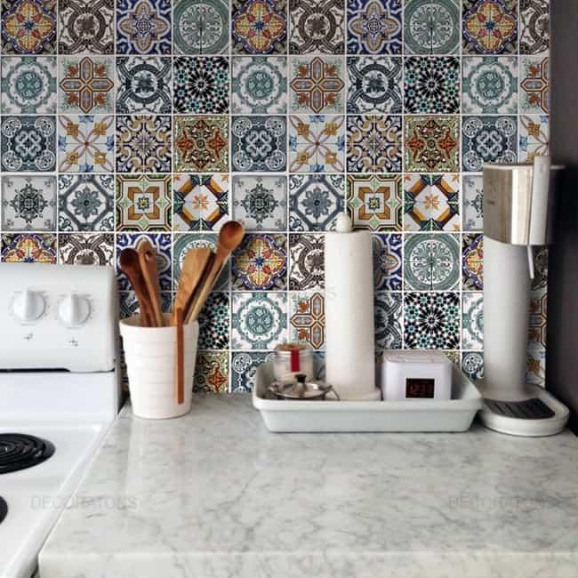 Papel contact para cozinha parede azulejinhos